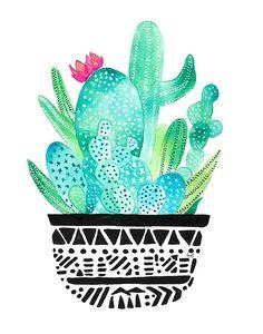 Cactus water color art.