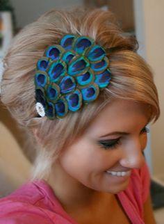 Peacock Feather Headband- Rhinestone, Head Band, Hair Accessory, Headpiece, Hair Piece, Embellished. $27.95, via Etsy.