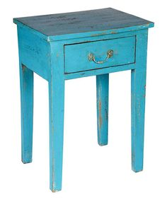 Another great find on #zulily! Blue Vintage Side Table #zulilyfinds