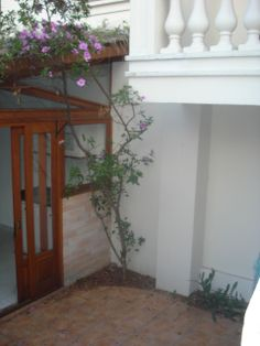 canto direito do quintal do apartamento, com um pé de manacá - garden, outside architecture, jardim, maison