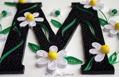White Daisies Quilled Letter M Monogram - Boucle Detail