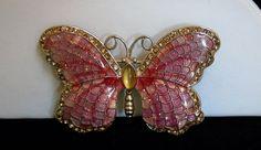 Vintage Napier Puffy Glitter Pink Enamel Honey Amber Cabochon Butterfly Brooch  #Napier #PinkEnamelGlitterSparkleButterflyBrooch