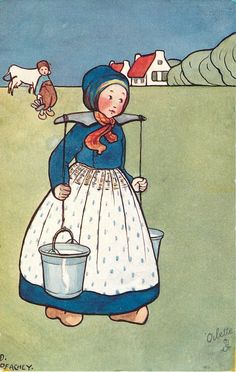 Dutch girl walking right carrying two milk pails with yoke, boy and cow watch - TuckDB Postcards Vintage Children's Books, Vintage Cards, Vintage Postcards, Windmill Art, Victorian Crafts, Japanese Drawings, Antique Pictures, Postcard Art, Children's Book Illustration