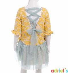 Vestido de ceremonia para niña en amarillo y verde de Teté&Martina.