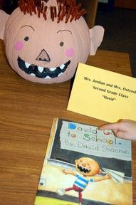 pumpkin book character with No David book (could be done with any book at upper grade levels for halloween party day) Theme Halloween, Fall Halloween, Halloween Crafts, Halloween Pumpkins, Halloween Decorations, Library Decorations, Preschool Halloween, Pumpkin Decorations, Halloween Ideas