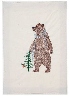 Coral & Tusk - Bear with Tinsel Stationery
