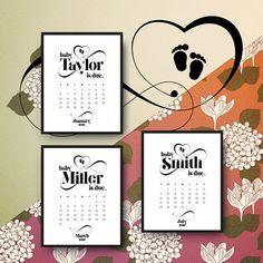 elegant personalized baby due date announcement printable calendar pdf jpg due date reveal babys surname announce birthday calendar