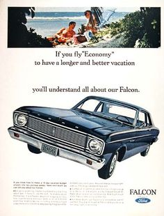 1966 Ford Falcon Coupe original vintage advertisement. Photographed in rich color. Equipped with a 289 cu. in. V8 and Cruise-O-Matic drive.