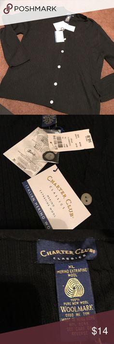 Charter club XL black cardigan sweater New with tags Charter Club Sweaters Cardigans