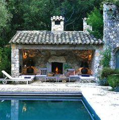 Stone house patio cabana room next to the pool. Outdoor Rooms, Outdoor Living, Outdoor Decor, Outdoor Retreat, Outdoor Lounge, Outdoor Seating, Indoor Outdoor, Outside Living, Stone Houses