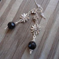Black Earrings Flower Earrings Silver Jewelry Handmade by cdjali, $10.00