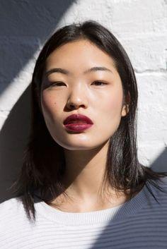Wine color lip and natural eye makeup