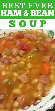 Classic Ham and Bean Soup Ham and Bean Soup by Renee's Kitchen Adventures - classic ham and bean soup made easy on the stove top. Smoky ham, white beans, and veggies make this soup a family favorite. It's a healthy soup that will warm you right up! Homemade Beans, Homemade Soup, White Bean Soup, Bean And Ham Soup, White Beans And Ham, 15 Bean Soup, Lima Bean Soup, Ham Hock Soup, Mexican Bean Soup