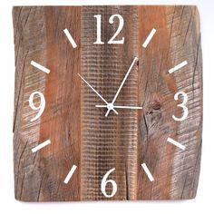 15 x 15 Rustic Barn Wood Clock Large Wood by TheRusticPalette Rustic Wood Decor, Rustic Wall Clocks, Unique Wall Clocks, Wood Clocks, Rustic Barn, Large Wood Clock, Reclaimed Barn Wood, Wall Decor, Nail Holes