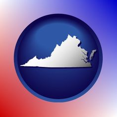 Red, white, and blue Virginia map icon.