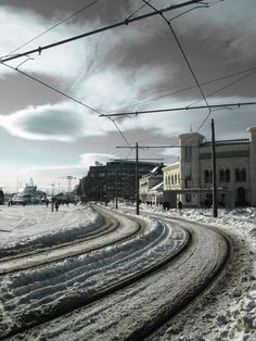 Streetcar lines outside the Nobel Peace Center. Winter Time, Oslo, Old Houses, Railroad Tracks, No Time For Me, Finland, Norway, Places Ive Been, Roots