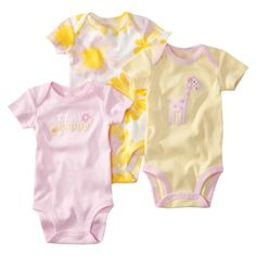 JUST ONE YOU  Made by Carters ® Infant Girls 3 Pack Bodysuit Set - Pink.Opens in a new window