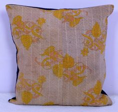 Vintage Kantha Cushion Cover Indian Handmade Cotton Fabric Pillow Case Art
