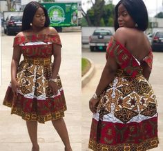 African Off-Shoulder Box-Pleated Dress | African Print Dresses | African Clothing Styles | African Wedding Party Price: 120.00 #womensafricanclothing