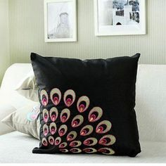 peacock feather embroidered throw pillows chinese style sofa cushions