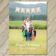 Custom Photo Christmas Card  Merry Bunting by ThePinkCoconut, $15.50