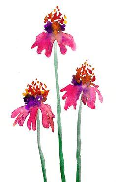 Watercolor Painting - Echinacea Floral - Pink Orange Coneflowers Art Print