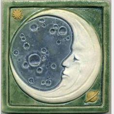 Whimsical Man in the Moon art tile by Ravenstone Tiles Azulejos Art Nouveau, Art Nouveau Tiles, Sun Moon Stars, Sun And Stars, Moon Time, Moon Illustration, 3d Studio, Clay Tiles, Beautiful Moon