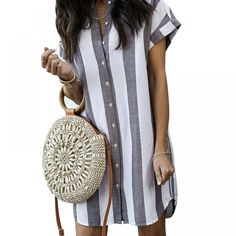 DeRuiLaDy 2019 New Women Summer Shirt Dress Loose Short Sleeve Button Striped Short Dresses Ladies Casual Mini Dress Vestidos - adsfay Button Down Shirt Dress, Mini Shirt Dress, Dress Vestidos, Mini Vestidos, Mode Outfits, Fashion Outfits, Womens Fashion, Ladies Fashion, Cheap Fashion