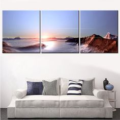 Modern Sunset Landscape Painting Wall Art Canvas Art Print Poster Painting Home Decor Oil Picture Cuadros Pictures Unframed 3pcs