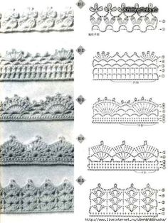 Crochet edging diagrams for a afghan, baby blanket, scarf, dish towel, pillowcase…. @ Do It Yourself Remodeling Ideas