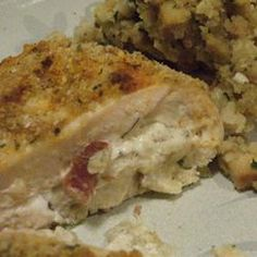 Cream Cheese, Garlic, and Chive Stuffed Chicken... add sun dried tomatoes and a little cheese to the mixture