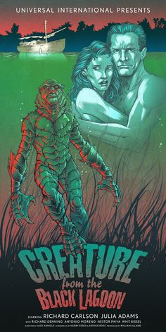 Universal International, Creature from the Black Lagoon, United States, 1954 Disney Movie Posters, Old Movie Posters, Horror Movie Posters, Movie Poster Art, Fan Poster, Retro Horror, Vintage Horror, Adornos Halloween, Monsters