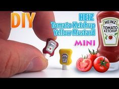 DIY Miniature Heinz Ketchup and Mustard | DollHouse | No Polymer Clay! - YouTube