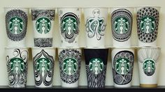 Starbucks Cup Doodles - OMG the talent I will never have (I do have other talents... will just never have this one)