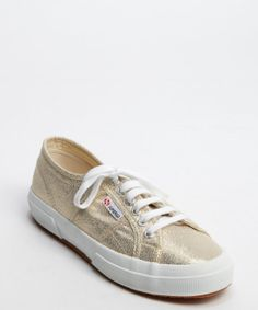 Superga : gold canvas lace up 'Cotu Classic' sneakers