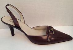 Anne Klein Shoes Womens Size 7 1/2 M Brown Slingbacks Heels 7.5 M #AnneKlein #Slingbacks