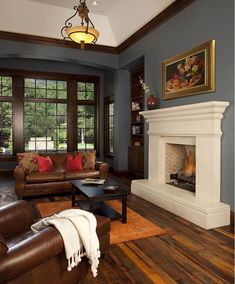 50 charming and cozy neutral living room design ideas 13 Craftsman Living Rooms, Craftsman Interior, Craftsman Houses, Craftsman Style Interiors, Craftsman Decor, Modern Craftsman, Kitchen Interior, Stone Fireplace Mantel, Fireplace Surrounds