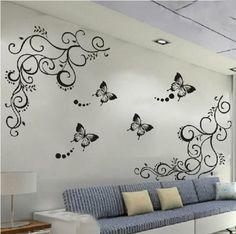 Butterfly Feifei Vine Flower Sticker Wall Decal vinel Removable Art PVC Decor Home