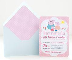 Convite personalizado digital para imprimir no tema Peppa Pig.
