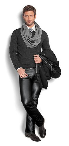 I like the sweater, shirt, tie and scarf but the leather pants...really?