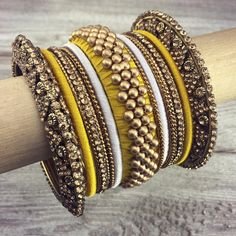 "Banglez on Instagram: ""Shop this Bangle set called 'NiSHA' .... Or make your own by showing us your outfit so we can customize it in person or through a video…"" Silk Thread Bangles Design, Silk Bangles, Bridal Bangles, Thread Jewellery, Indian Wedding Jewelry, Indian Jewelry, Bangle Set, Bangle Bracelets, Making Ideas"