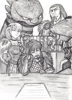 Hiccup, Toothless, Astrid and Eret