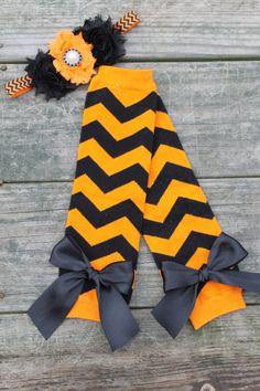 Halloween Leg Warmer and Heaband Set, Halloween Chevron, Orange and Black Chevron Leg Warmers, Newborn leg warmers, baby leg warmers