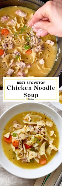 The Best Easy Homemade Chicken Noodle Soup Recipe. So simple to make from scratch on the stovetop -- it's perfect comfort food for cold weather or for colds to make for your flu fighter. Use rotisserie chicken or a whole raw chicken (or bone in pieces like thighs), onion, celery, carrot, garlic, bay leaf, chicken stock (if using the shortcut quick & simple technique) , dried noodles (linguine, egg, spaghetti -whatever you like).