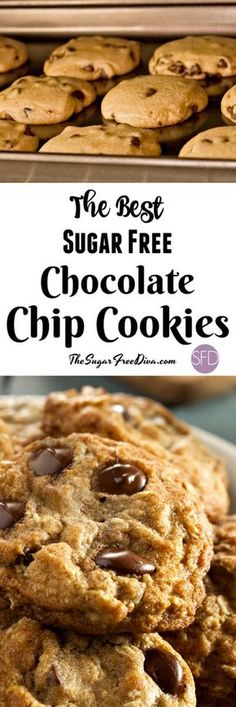 The Best Sugar Free Chocolate Chip Cookies - Sugar free desserts - Kekse Gourmet Desserts, Diabetic Desserts, Diabetic Recipes, Diabetic Cookies, Diabetic Foods, Diabetic Cake, Pre Diabetic, Plated Desserts, Diet Recipes