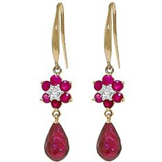Ruby and Diamond Daisy Chain Drop Earrings 7.55ctw in 9ct Gold