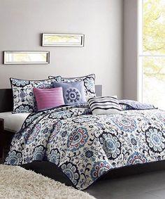 Look at this #zulilyfind! Blue & Purple Floral Becky Quilt Set #zulilyfinds