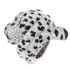 CARTIER Diamond and Onyx Panther Ring - 1stdibs.com