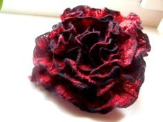 Black and Red felted wool flower brooch pin by WoolFeltArt
