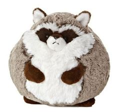 "6 5"" Aurora Plush Brown White Raccoon Sweet Softer Ball Stuffed Animal Toy 